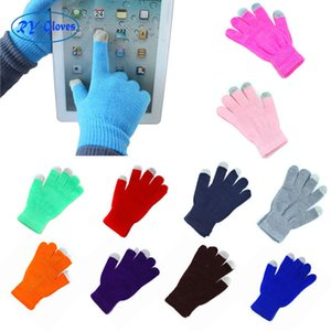 18 couleurs touchez des gants chauds à tricoter des gants tactiles tactiles magiques gant acrylique mobile téléphone universel écran tactile gant