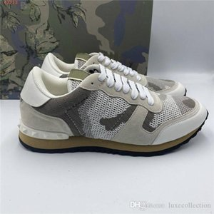 Mens classic stylish camouflage leather sneaker comfortable non-slip rivet flat bottom casual shoes Original packaging