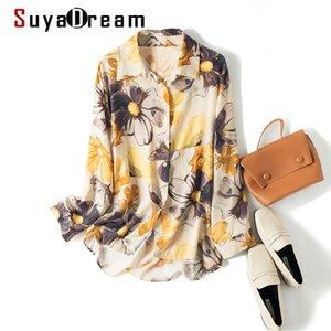Suyadream Boysfer Blouse Women 100% шелковые печати длинные рукава падение плеч свободная блузка рубашка элегантная шелковая шифоновая рубашка Y200828