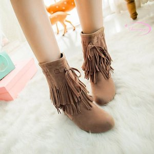 Chainingyee estilo casual redondo Toe Nubuck Ankle Botas Borla Preto Damasco Marrom High-Heeled Aumentando Botas de Equitação Mulheres Sapatos1
