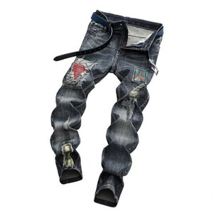 Top quality brand best men's designer distressed ripped skinny ripped jeans fashionable luxury fashion hip hop best version skinny ripped pa