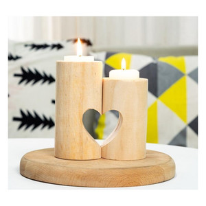 Wooden Tea Light Candle Holder Heart Hollowed-out Candlestick Romantic Table Decoration For Home Birthday Party Wed jllnMK eatout
