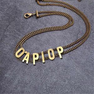 Мода Первоначальная буква Choker Ожерелье Bijoux Cuban Link Out Out Out Coundant Цепи для Леди Женская вечеринка Свадьбы Любители Подарочные Украшения с коробкой