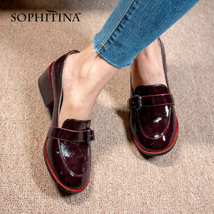 SOPHITINA New Women's Shoes Comfortable Square Heel Metal Decoration Buckle Leisure Patent Leather Loafers Lady Pumps PC650 1007