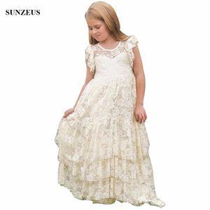Fiore merletto dell'annata dalla ragazza di Boemia Una linea di pavimento lunghezza lungo Childern festa di nozze abiti Fondello FLG001