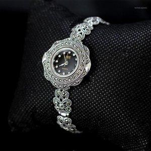 Metjakt Vintage Kuvars Bilezik Izle Ile Zirkon Katı 925 Ayar Gümüş Bilezik Kadınlar için Tay Gümüş Jewelry1