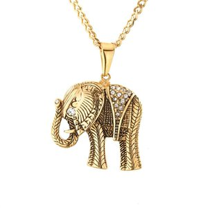 Jewelry Necklace Fashion Stainless Steel Plated Micro Inlaid Rhinestone Animal Elephant jewelry Pendant Necklace