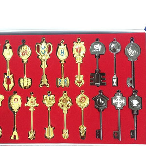 35pcs Set Fairy Tail Keychain Collection Lucy Sign of the Zodiac Gold Key Pendants Birthday Gifts Men Jewelry Props