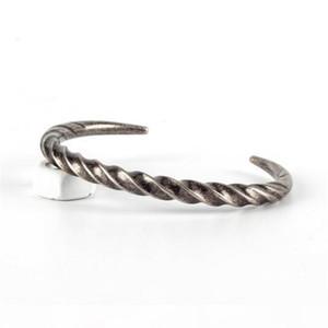 whole saleRetro Silver Men Jewelry Punk Stainless Steel Bracelet Men Twist Horns Cuff OPen Bracelets & Bangles Couple pulseira masculina