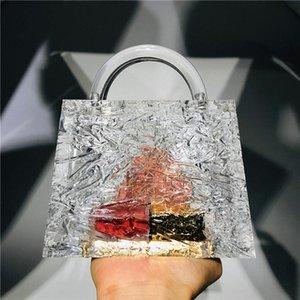 الجليد شفافة الكراك أكريليك حقائب كريستال الاكريليك واضحة الفاصل حقائب الساخن مصمم دلو حقيبة حقيبة عشاء شفاف مع سلسلة الاكريليك