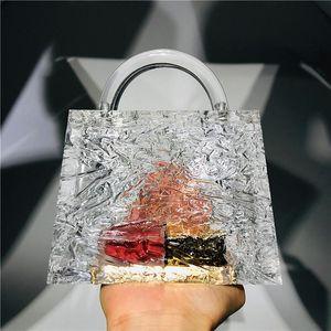 Acrylic Ice Bag Clear Crystal Transparent Clutch Hot Bags Designer Bucket Handbags Crack Dinner With Chain Acr Rbsij