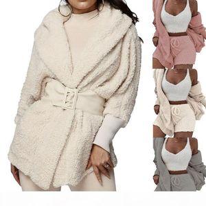 Women Winter Warm Fluffy Pajamas Sets Cardigan Sweater Long Sleeve Plush Hooded Coat + Shorts Set Sleepwear Homewear 2PCS