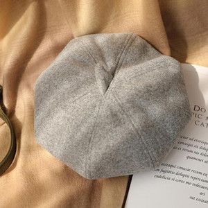 Yoyocorn puro lã beret chapéu mulheres sentido boina estojo britânico moda meninas chapéu senhora cor slouchy inverno chapéu feminino