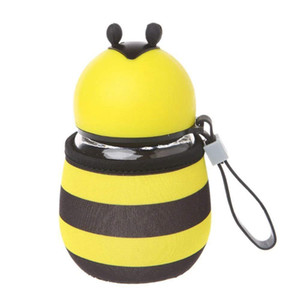 Cute Bee Water Bottle Glass BPA Free with Rope Heat Insulation Cup Set for Kids,Girls 10 OZ
