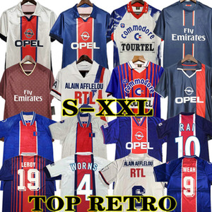 93 94 95 96 PSG Retro Futebol Fußball Jersey Okocha Leroy Adailton Beckham 98 99 00 01 90 92 Paris saint germain Classic Rai Anelka Ibrahimovic Camisas de Futebol