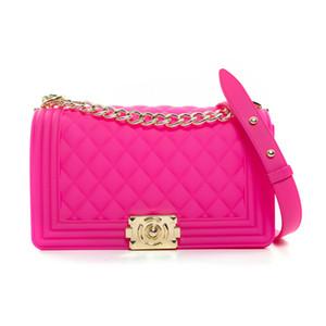 GW nuova delle donne di vendita calda della gelatina del sacchetto del PVC plaid chiaro blu Colori Candy Bag Grande 25 centimetri Dimensione borse delle donne della borsa a mano