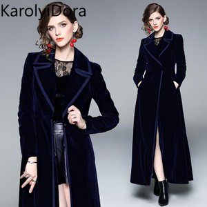 Women's coat Winter Runway Designer Women Vintage Notched Collar Wrap Black Velvet Maxi Coat Thick Warm Long Trench Outwear