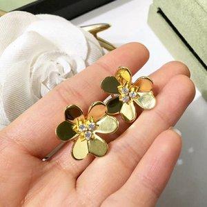 2021 Sterling Silver Jewelry for Women Gold Color Earrings Flower Earrings Luck Clover Design Wedding Party Earrings