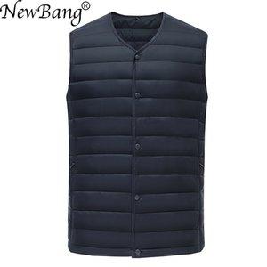 NewBang Brand Men's Waistcoat Ultra Light Cotton Vest Men Without Collar Waterproof Sleeveless Warm Liner Male Slim Gilet 201104