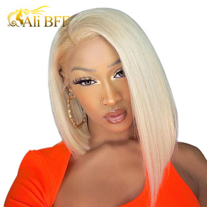 Blonde Lace Front Wig Brazilian 613 Short Bob Lace Front Human Hair Wigs For Black Women ALI BFF HD Transparent Lace Wig