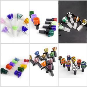Neueste 6 Stil 14mm Schale Glasschale männlich Joint Griff Schöne Slide Schüssel Stück Zubehör für Bongs Wasserpfeifen rauchen