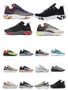 eaktionselement 87 55 Laufschuhe für Mens Womens Pack White Sneakers Marke Männer Frauen Trainer Männer Frauen Designer Laufschuhe