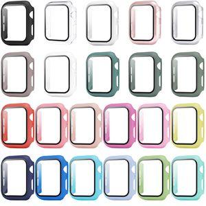 360 Full Cover PC Case 3D Temperiertes Glas Anti-Scratch-Film-Bildschirmschutz für Apple Watch-Serie SE 6 5 4 44mm 40mm iWatch 3 2 1 42mm 38mm