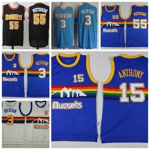 Hommes Dikembe Mutombo 55 Allen Iverson 3 Carmelo Anthony 15 DenverNuggetsBasket-ball classique Jersey Hardwoods Floral 01