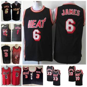Dwyane alonzo 33 hombres luto lebronWade 6JamesHombres Mitchell Ness Player Baloncesto MiamiAlmendmiamiHeat Jersey 01
