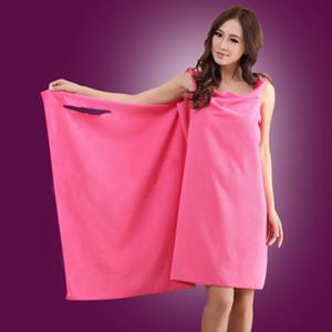 Superfine Fiber Bath Towel Sling Solid Color Bathrobe Wearable Water Uptake Shower Skirt Bathroom 150*80cm Lady Hot Sale 9yq G2