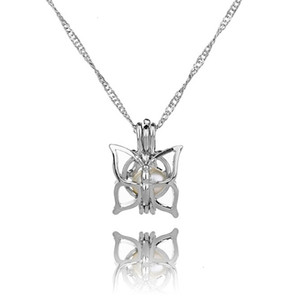 Silver Beautyfashion Locket Cage Pearl With Necklace Shark Mermaid Sea Horse Rose Pearls Oyster Pendant Charm Fi