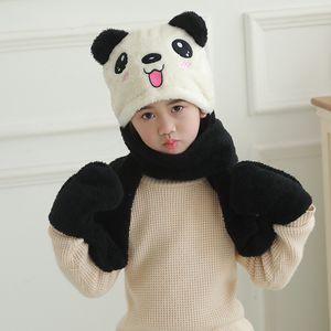 Children's scarf hat gloves three piece set double velvet autumn and winter warm baby bib customized wholesale
