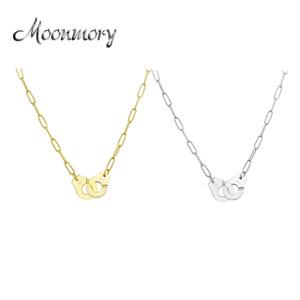 Moonmory Sterling Silver Silver Placa Colgante Collar para las Mujeres Cadena de plata Collar Collar Blanco Menottes al por mayor LJ201016