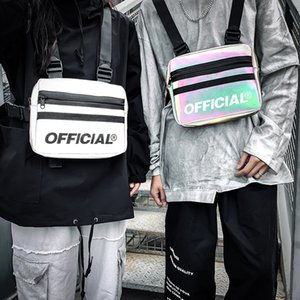 Hombres Disco táctico bolsillo en el pecho de moda en el pecho para las mujeres bolsa de aire reflectantes coloridas Streetwear Hip Chest Rig Bolsas