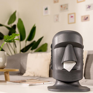 Creative Tissue Box Easter Island Shape Decoration Tissue Storage Box Drawing Stone Personalized Household