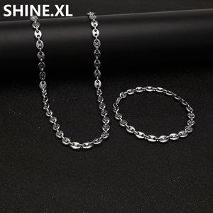 "2020 New Stainless Steel Coffee Bean Chain 22""Necklace and 8""Bracelets Fashion Hip Hop Jewelry Set Gold Chain for Men"