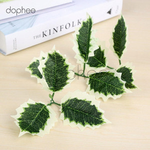 dophee 10pcs Artificial hojas Flor de seda para la decoración del partido Scrapbooking falsificación flor CRIC #