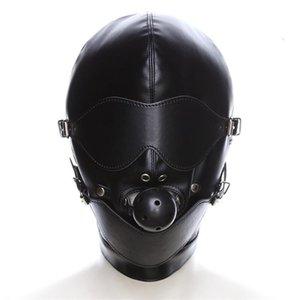 BDSM Bondage masque complet en cuir creux Erotic bâillon pour adulte Jouer Jeux fetish ball capuche yeux Strapped visage yeux bandés pour les jeux Coupl Cxfl