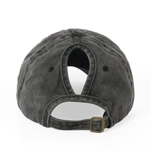 Washed Baseball Cap Ponytail Cap Foreign Trade European And American-Style Popular-Curved Eaves Duckbill Hat Spring-Summer Women 201019