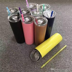 New 20 OZ inoxidável Tumbler Com Seal tampas do arco-íris Palhas garrafa térmica isolamento duplo magro de aço inoxidável Cup 08