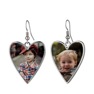 Sublimation Earrings with Blank Aluminum Sheet DIY Customized Metal Dangler Heat Transfer Printing Eardrop Jewelry Family Lovers Gift