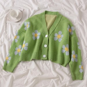 Preppy Style Flower Knit Cardigans Sweater Women V Neck Loose elegaht Thicked Pull Femme Print Short Casual Coat 201221