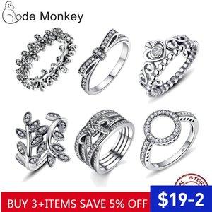 Codemonkey heißen Verkauf-100% 925 Sterlingsilber-Ring freie CZ Kreis runde glückliche Ringe für Frauen-Schmucksachen 2020 Dropshipping R041