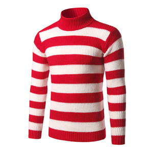 Fashion- Mens Striped Turtle Neck Sweaters Blue White Red Black Classic Fashion Sweaters Winter Casual Pullover 3XL