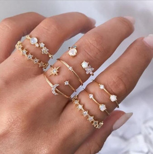 9-piece star crescent ring set, creative retro simple alloy joint ring fashion jewelry GD1179