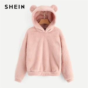 Orejas Shein muy buen gusto precioso con los osos de peluche Campus sólido con capucha sudadera con capucha mujeres del otoño camisetas ocasionales 200930