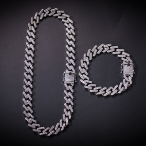 Hip hop Necklace Strip Miami Cuban Chain Zircon-studded Hip-Hop Necklace for Men European and American Accessories Hot