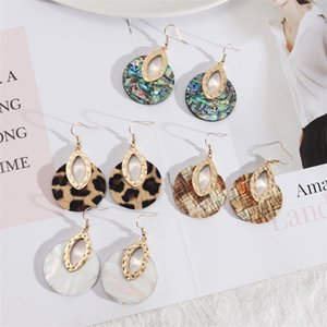 Oval Metal Round Abalone Shell Leopard Charm Earrings Stone Gold Color Dangle Brincos Pendientes Fashion Brand Jewelry Women