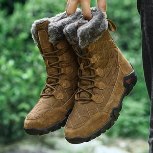 Winter High Top Waterproof Man Boots Men Snow Boots Man Fur Thick Plush Warm Mens Male Ankle Big Size 38 48 Walking Boots Ankle Boot F hARr#