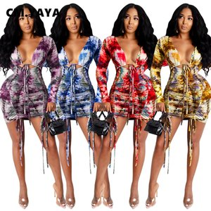 Autunno Inverno stampa tie-dye Donne Stacked increspato Bodycon Midi veste il vestito sexy Night Club Via Slim matita V-collo